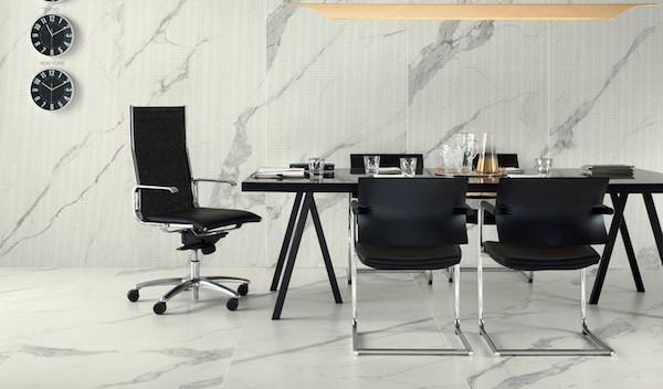Rivestimenti per pavimentazioni effetto marmo statuario - Design e foto by Bertolani Ceramiche