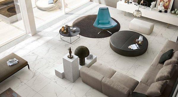 Rivestimenti finto marmo per pavimentazioni con finitura Soft - Design e foto by Iperceramica