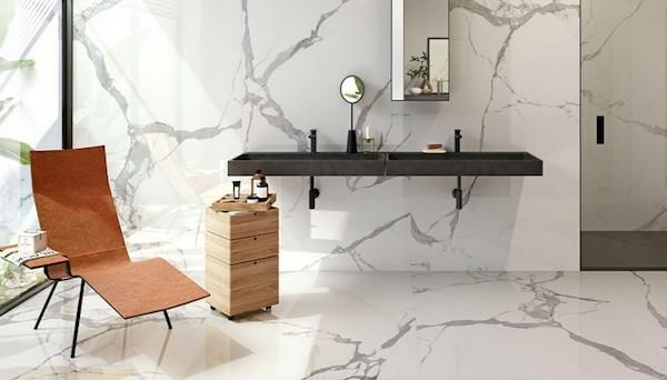 Rivestimento effetto marmo XLAB Statuario - Design e foto by Iperceramica