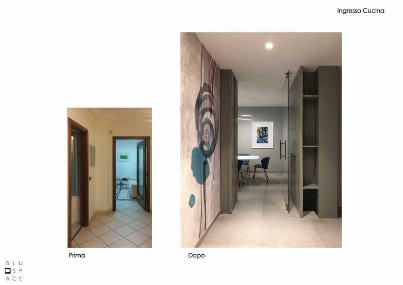 Prima e dopo dell'ingresso di casa, progetto di Blu Space