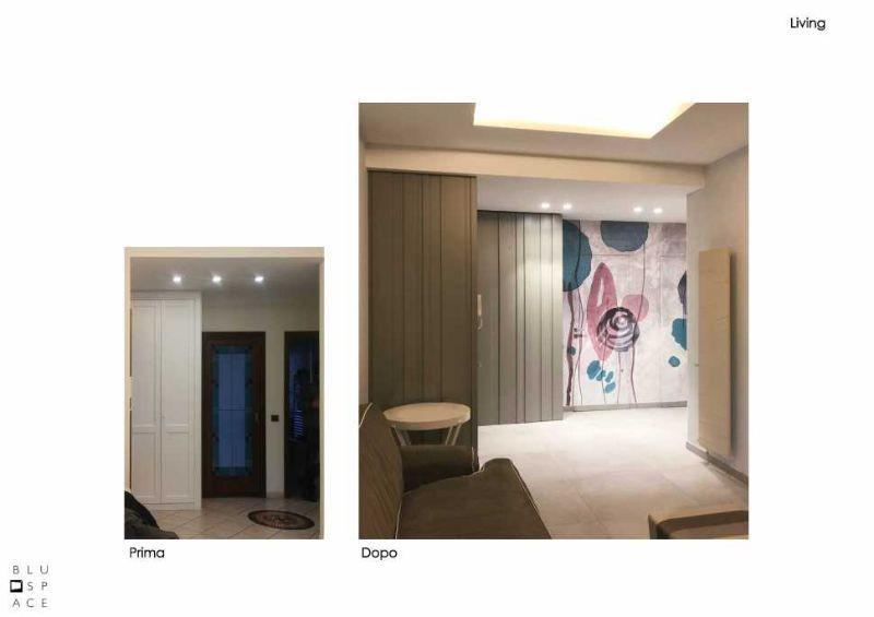 Progetto living prima e dopo a cura di Blu Space