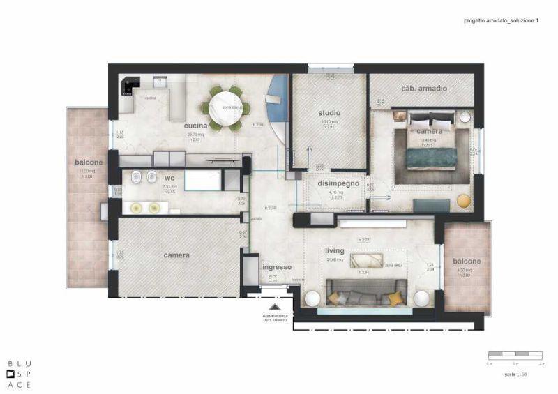 Ristrutturare casa: tavola di progetto con arredamento, Blu Space