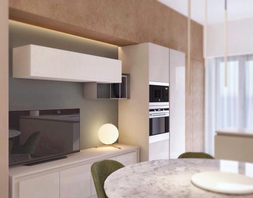Render cucina a cura di Blu Space