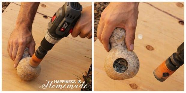 Casetta per uccelli con zucca: parte 1, da happinessishomemade.net