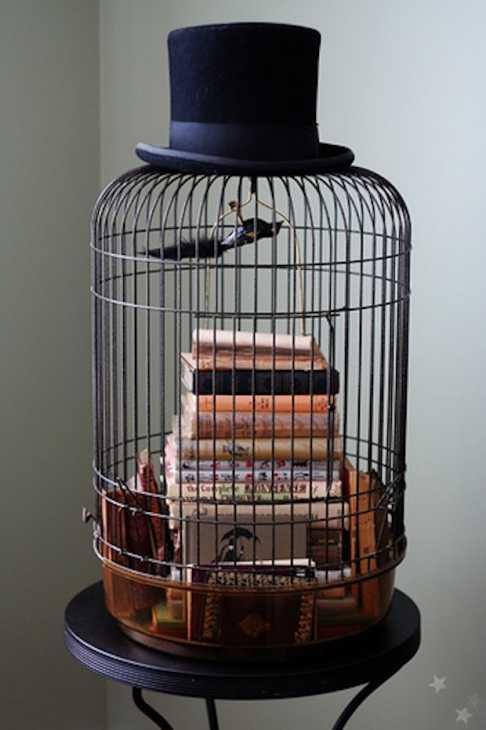 Gabbia uccelli come porta libri, da shannoneileenblog.typepad.com