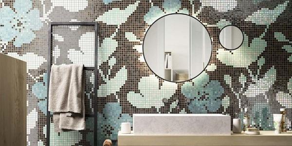 Bagno rivestito in mosaico della coll. Botanic, Mosaico+