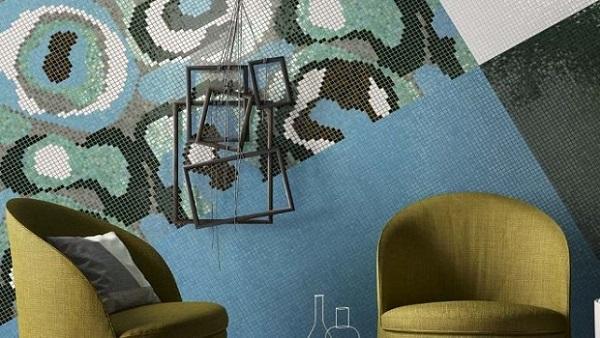 Un'idea di Mosaico+ per una parete nel living