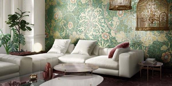 Parete rivestita con mosaici serie Botanic di Mosaico+