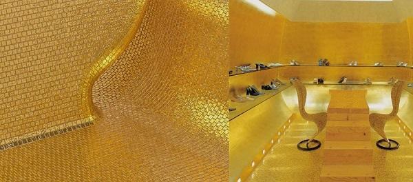 Rivestimento in mosaico serie Oro di Bisazza