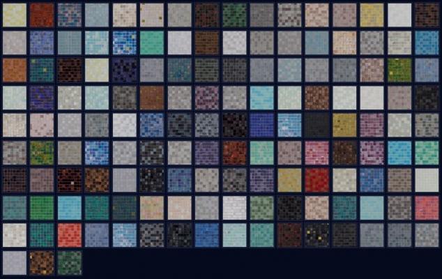 Campionario dei colori della collezione Miscele 20 di Bisazza