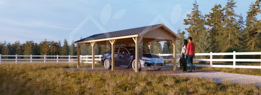 Carport fresco e sicuro, in legno