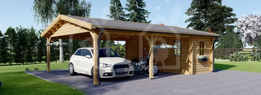 Casetta in legno come deposito attrezzi e tettoia insieme