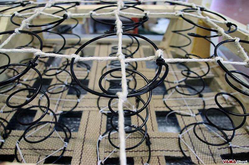 Molle biconiche acciaio divano Chesterfield - VAMA Divani
