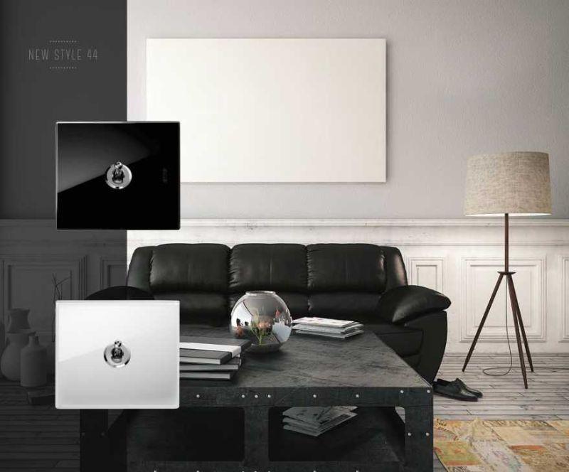 Interruttori a levettamoderni AVE NEw Style 44 con placca in vetro bianco o nero