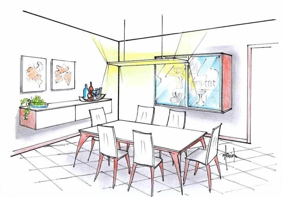 Sala pranzo con tavolo rettangolare