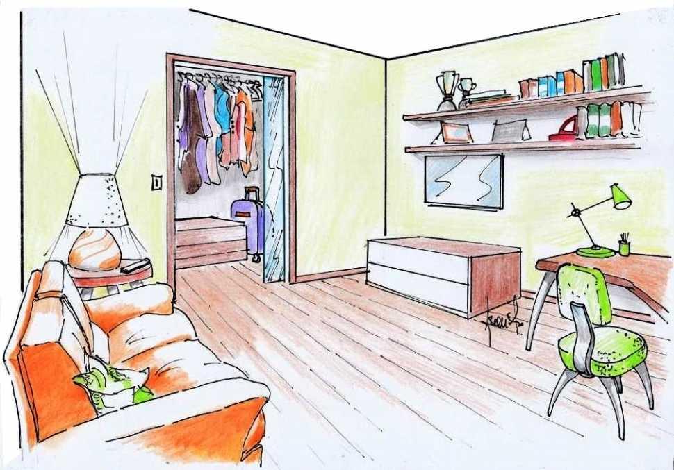 Camera per ospiti arredo: disegno di progetto