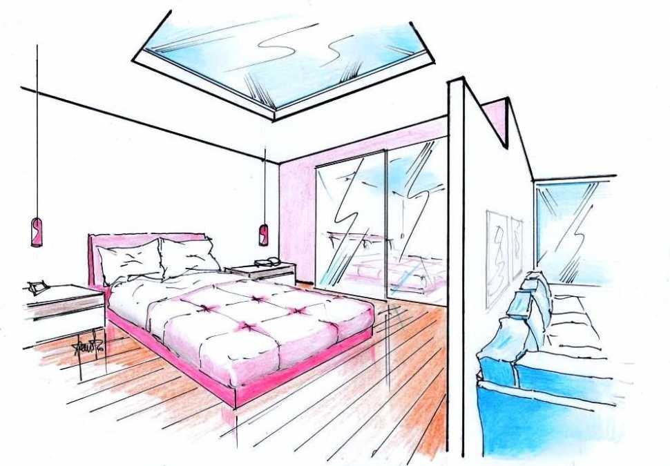 Attico open space: letto ,matrimoniale