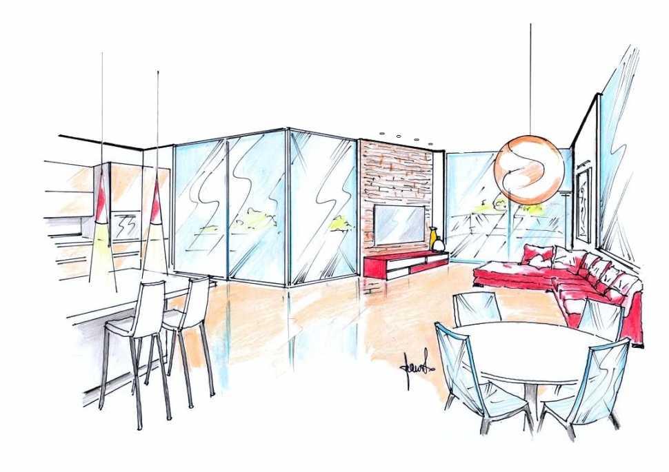 Attico open space: disegno di progetto