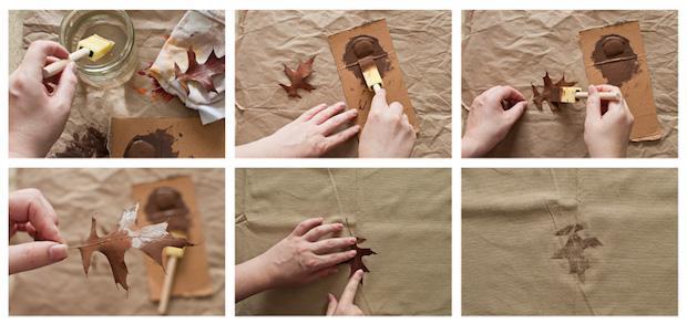 Decorare la stoffa con le foglie secche, da funtober.com