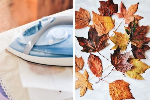 Luminarie con il riciclo di foglie secche: da wallflowerkitchen.com