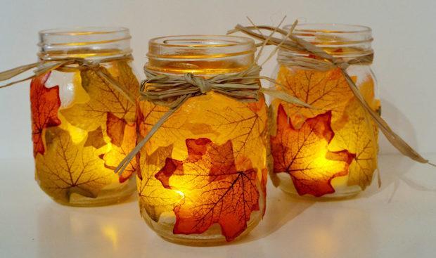 Riciclo foglie secche: portacandele, da sparkandchemistry.com