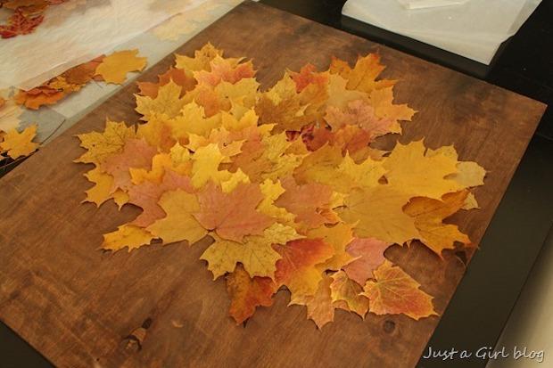 Quadro con il riciclo di foglie secche, parte 1, da justagirlblog.com