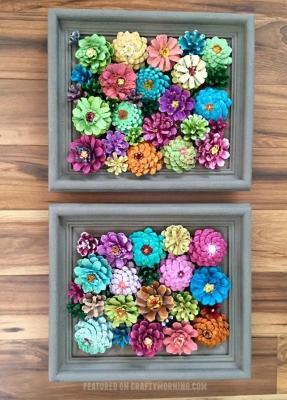 Decorazioni fai da te: un quadro di pigne colorate, da craftymorning.com