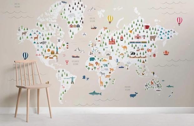 Carta da parati per bambini con mappamondo, da MuralsWallpaper
