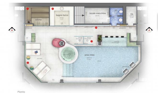 Moodboard intervento restyling area relax e spa a cura di Blu Space Napoli