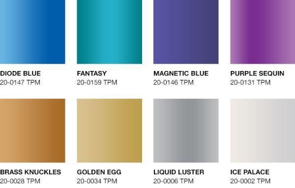 Palette Pantone colori metallic shimmers