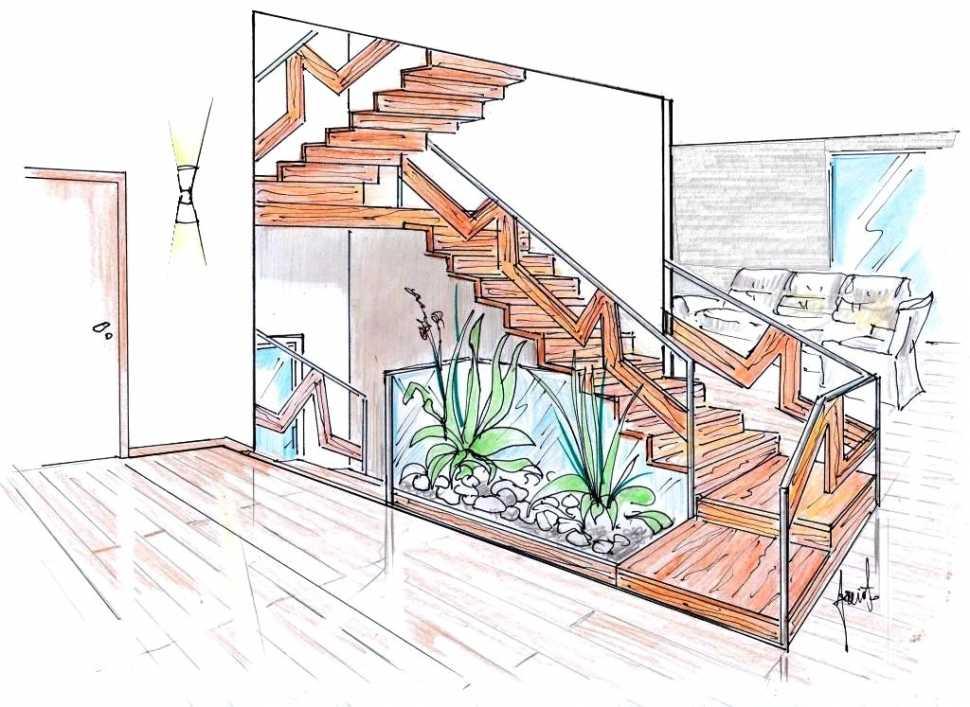 Scala in acciaio e legno: disegno di progetto