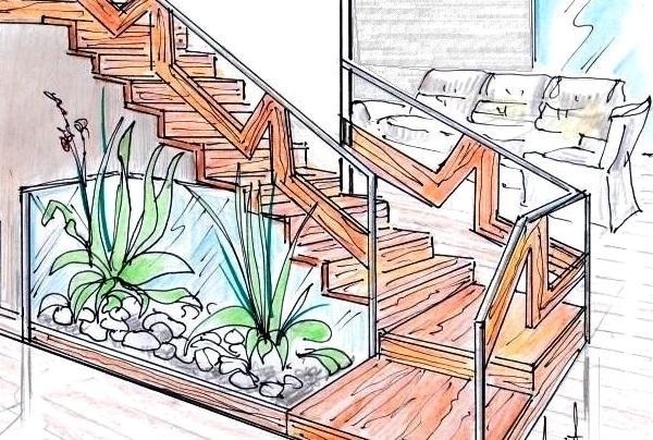 Scala di design in legno e acciaio