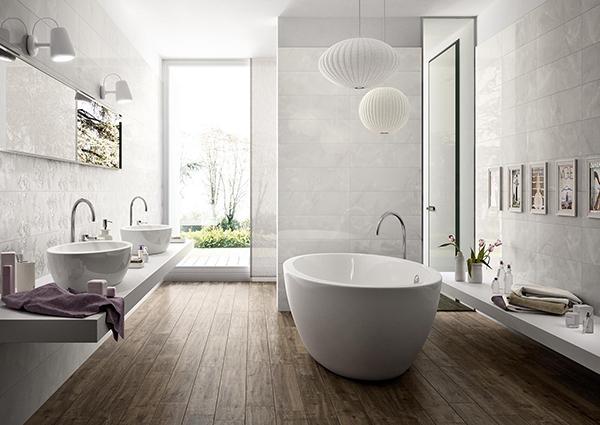 Gres effetto marmo bianco venature bagno Marazzi