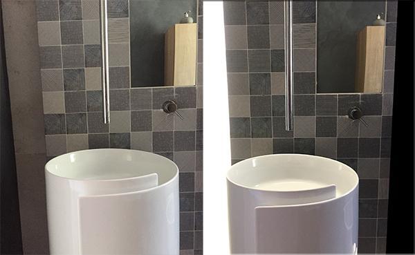 Design interni bagno con luci a led Adriana Zingone