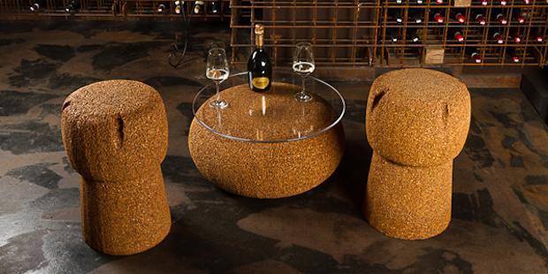 Arredamento in sughero riciclato: Corkpouf, da Livingcap