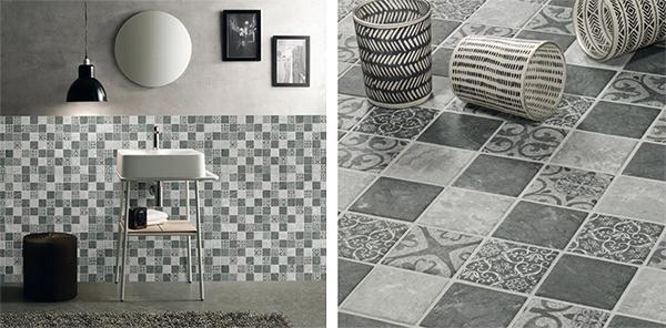 Mosaico ispirato alle cementine 0406-ET38 ETHNIC GREY di Boxer