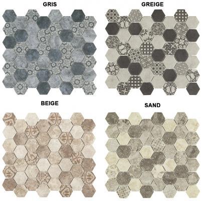 Pavimento a mosaico ispirato alle cementine 0312-EGF39 ESA GLASS FLOR by Boxer
