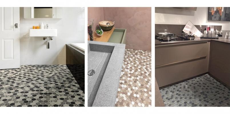 Pavimento a mosaico ispirato alle cementine 0312-EGF39 ESA GLASS FLOR di Boxer