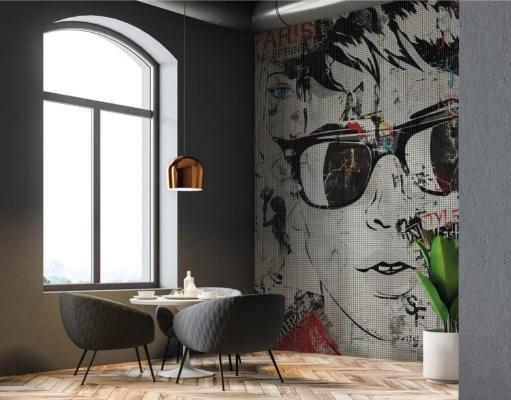 Mosaico in resina ispirato ai graffiti della linea Urban di Gemanco Design