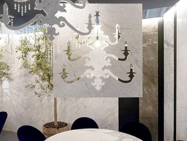 Home Design by Franchi Umberto Marmi, lampadario in marmo Lumier
