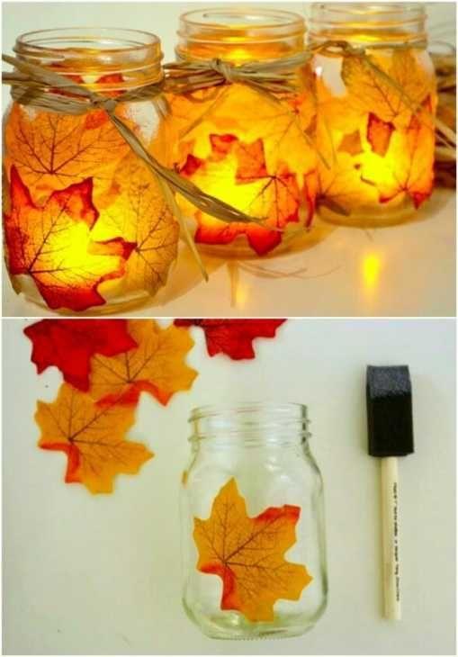Portacandele autunnali con foglie di Hellonewlywed2