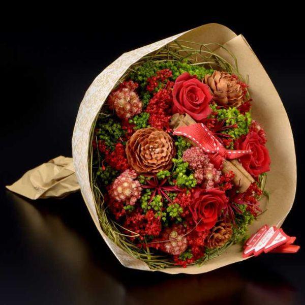 Bouquet fiori secci tema Natale di Lasempreviva.it