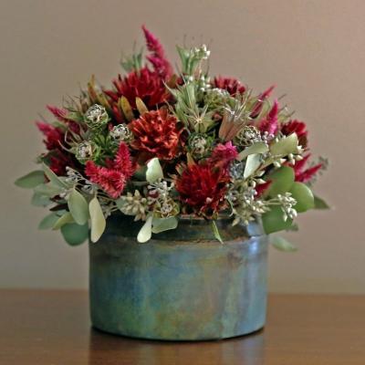 Composizione di fiori secchi come centrotavola su Etsy