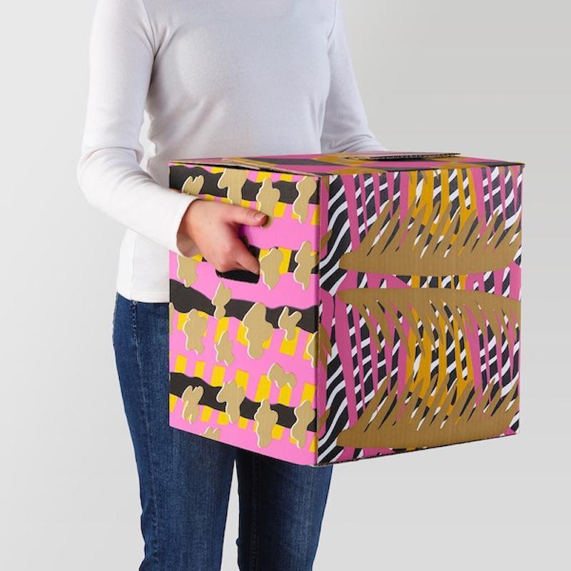 Cartone da imballaggio Ombyte: tre colori- Design e foto by Ikea