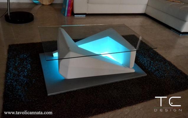 Tavolino per sala cinema Silver con kit led - Design e foto by TC Design