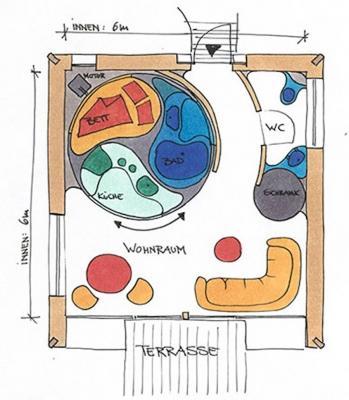 Piantina interna Rotor House, design by Luigi Colani