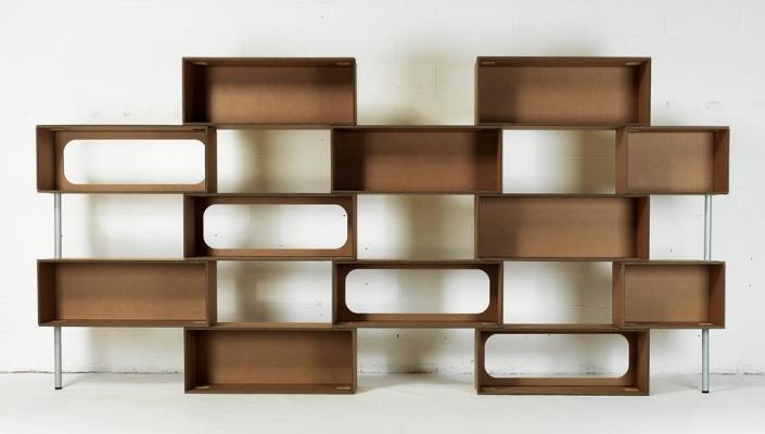 Libreria modulare Mattoni di Lessmore, in cartone o legno