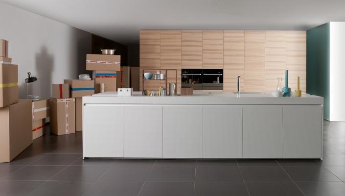 Cucina realizzata con impiego di materiali ecocompatibili