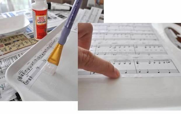 Decorazioni con spartiti: decoupage, parte 2, da centsationalgirl.com