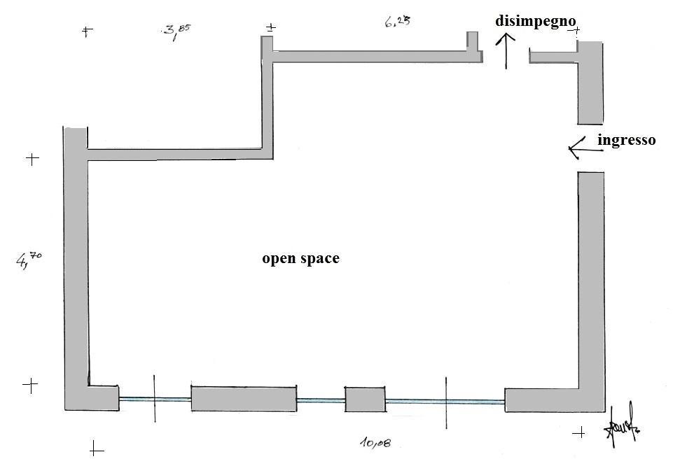 Zona giorno in cui creare un divisorio interno: pianta prima